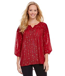 Nurture  - Foiled Ditsy-Print Pintucked Blouse