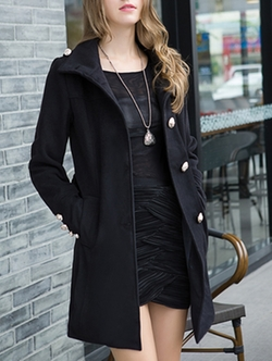 Romwe - Lapel Buttons Pockets Long Black Coat