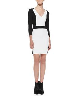 French Connection   - Colorblock Pique Body-Conscious Dress