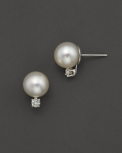 Akoya  - Cultured Pearl Stud Earrings with Diamonds