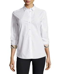 Burberry Brit - Long-Sleeve Check-Trim Poplin Blouse