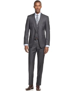 Calvin Klein  - Solid Vested Peak Lapel Slim-Fit Suit