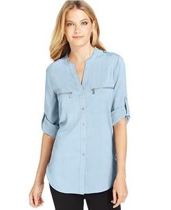 Calvin Klein  - Roll-Tab-Sleeve Zip-Pocket Blouse