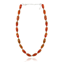 Silver Speck - Millifiori Murano Oval Bead Necklace