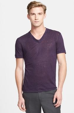 John Varvatos Collection  - Roll Edge V-Neck Linen T-Shirt