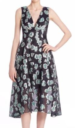 Lela Rose  - Floral Fil Coupe V-Neck Dress