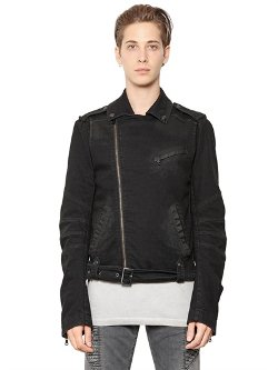 Pierre Balmain  - Stretch Cotton Denim Moto Jacket