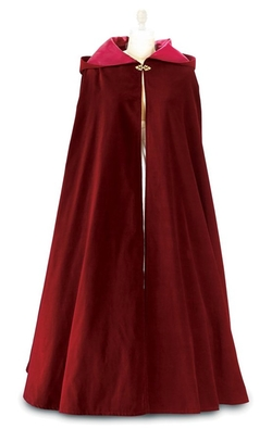 Carpatina - Renaissance Fashions - Burgundy Velvet Hooded Long Cloak Fully Lined