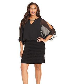 Xscape - Plus Size Split-Sleeve Blouson Shutter Pleat Dress
