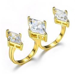 Umode - Cubic Zirconia Stones Two Finger Ring