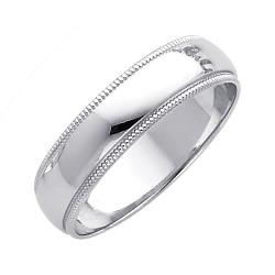 The World Jewelry Center - 14K White Gold 5mm Plain Milgrain Wedding Band Ring for Men & Women