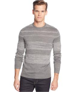 Calvin Klein  - Merino Wool-Blend Parallel Striped Crew-Neck Sweater