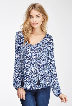 Forever 21 - Abstract Print Peasant Top