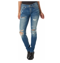 Silver Jeans - Suki Ripped Medium Blue Wash Skinny Jeans
