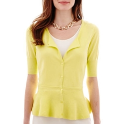 Worthington - Elbow-Sleeve Peplum Cardigan Sweater