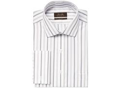 Tasso Elba  - Camel Sateen Stripe French Cuff Dress Shirt