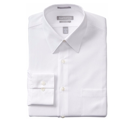 Van Heusen  - Poplin Fitted Solid Point Collar Dress Shirt