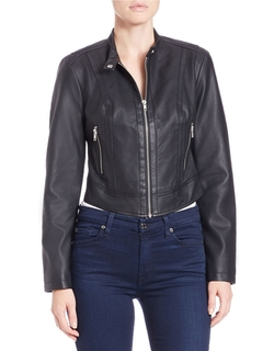 Guess  - Cropped Faux Leather Jacket