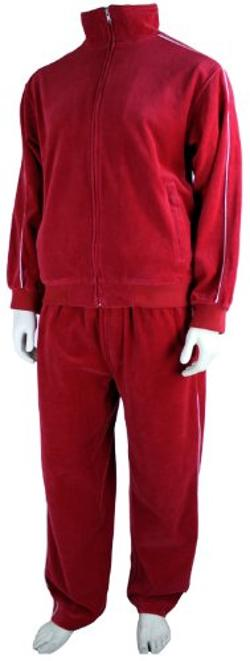 Sweatsedo  - Mens Red Velour Tracksuit
