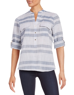 Ivanka Trump  - Striped Button Front Shirt