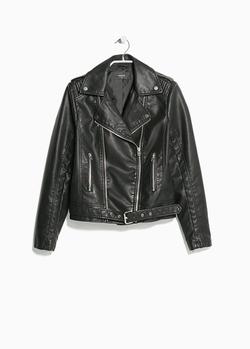 Mango - Belted Biker Jacket