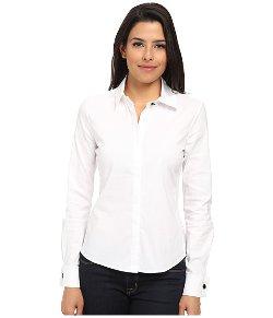 Sam Edelman -  Stretch Poplin Sheer Detail Shirt
