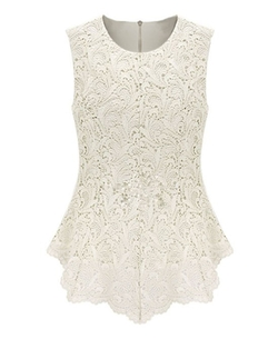 Chicnova - Bodycon Pure Color Lace Tank Top