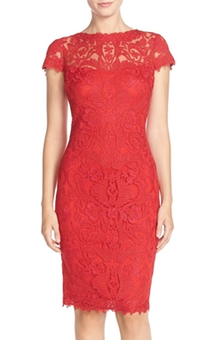 Tadashi Shoji  - Illusion Yoke Lace Sheath Dress