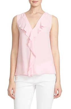 CeCe By Cynthia Steffe - Ruffle Front V-Neck Blouse