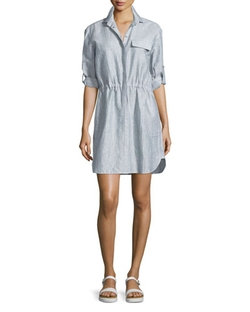 ATM - Crinkled Snap-Front Shirtdress