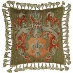 Aubusson  - Throw Pillow Handwoven Wool Fleur-de-Lis Armor Helmet