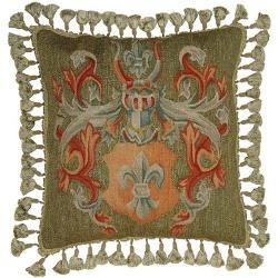Aubusson  - Throw Pillow Handwoven Wool Fleur-de-Lis Armor Helmet