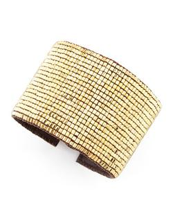 Love Heals  - Beaded Leather Cuff