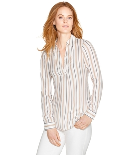 White House Black Market - Long Sleeve Striped Blouse