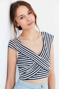 Kimchi Blue  - Olivia Striped Cross-Over Top
