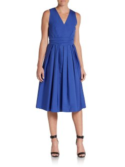 MaxMara  - Sleeveless Sateen Pleated Dress