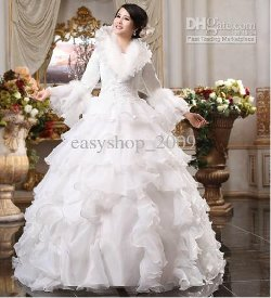 Easyshop_2009 - Long Sleeve Feather Wedding Gown