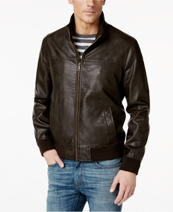 Tommy Hilfiger - Faux-Leather Stand-Collar Bomber Jacket