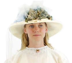 Greatlookz Fashion - French Blue & Ivory Victorian Touring Hat
