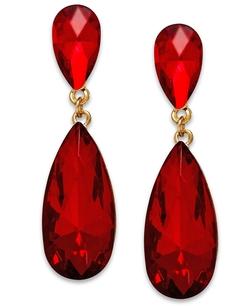 Style&co. - Gold-Tone Red Stone Teardrop Earrings