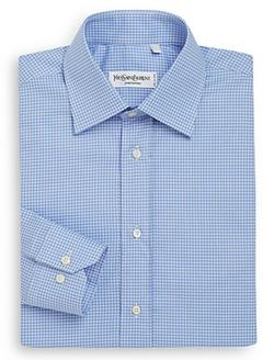 Yves Saint Laurent - Regular-Fit Check Cotton Dress Shirt