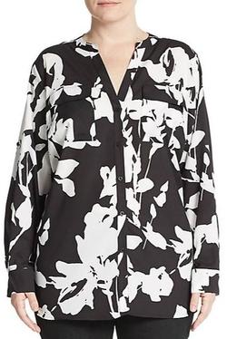 Calvin Klein - Floral Print Roll-Tab Sleeve Blouse