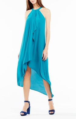 BCBGMAXAZRIA - Lanna High Low Draped Ruffle Dress