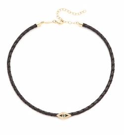 Jacquie Aiche  - Blue Diamond Eye Leather Choker Necklace