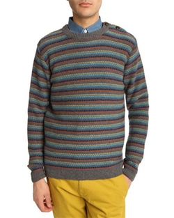 Knowledge Cotton Apparel - Reversible Grey Striped Knit Sweater
