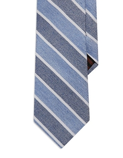 Black Brown - Silk Diagonal Striped Tie