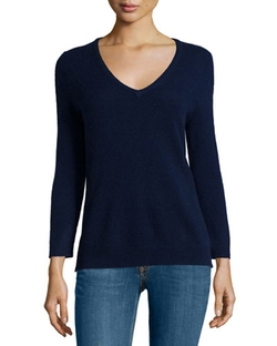 Neiman Marcus - Cashmere Basic V-Neck Sweater