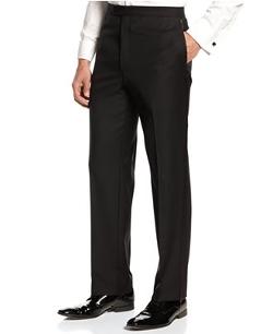 Lauren Ralph Lauren - Flat-Front Black Tuxedo Pants