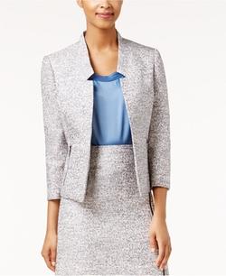 Kasper - Tweed Open-Front Jacket