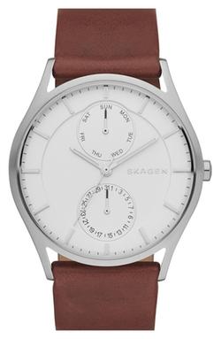 Skagen - Holst Multifunction Leather Strap Watch